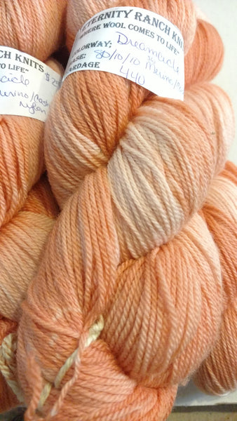Dreamsicle wool Cashmere nylon sock yarn. 440 yds