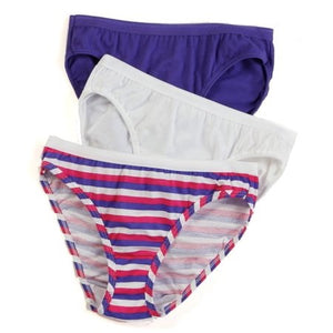 LADIES 3 PACK ASSORTED COLOR COTTON BIKINIS