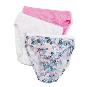 LADIES 3 PACK ASSORTED COLOR COTTON HIGH CUT BRIEF