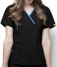 Load image into Gallery viewer, LADY FIT Y NECK MOCK WRAP SCRUB TOP