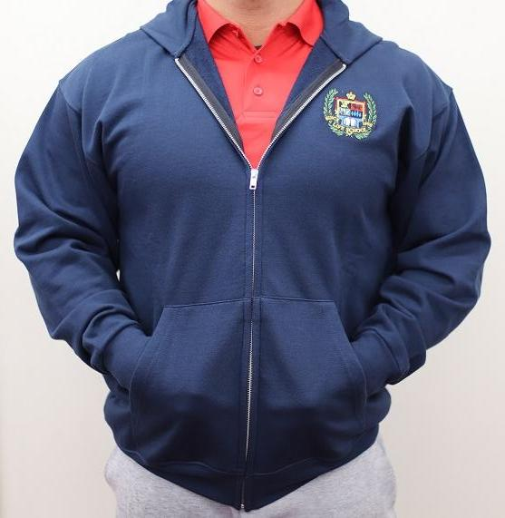 ADULT HOODED FLEECE ZIP FRONT SWEATSHIRT W/LOGO