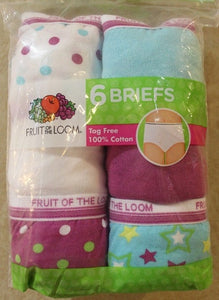 GIRLS 6 PACK ASSORTED COLOR COTTON BRIEFS