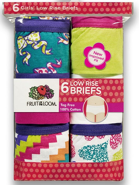 GIRLS 6 PACK LOW RISE BRIEF