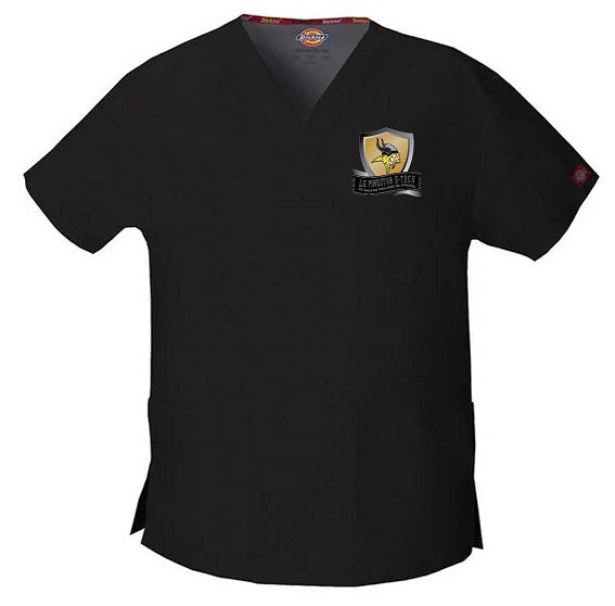 UNISEX SHORT SLEEVE TWO POCKET SCRUB TOP W/LOGO