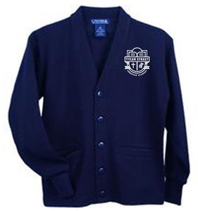 UNISEX YOUTH V-NECK CARDIGAN SWEATER W/ LOGO