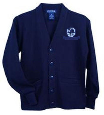 ADULT UNISEX V-NECK CARDIGAN W/ LOGO