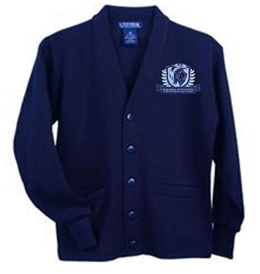 UNISEX YOUTH V-NECK CARDIGAN W/ LOGO