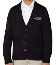 Load image into Gallery viewer, UNISEX YOUTH V-NECK CARDIGAN W/ LOGO