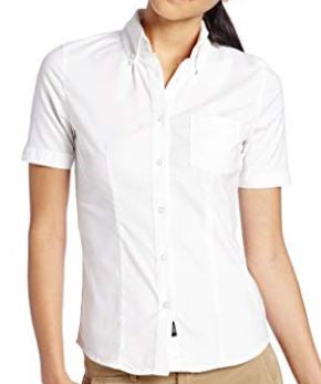 JUNIORS SHORT SLEEVE STRETCH OXFORD BLOUSE
