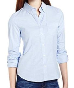 JUNIORS LONG SLEEVE STRETCH OXFORD BLOUSE