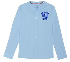 GIRLS LONG SLEEVE PETER PAN BLOUSE W/LOGO