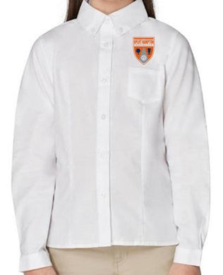 GIRLS LONG SLEEVE OXFORD W/ LOGO