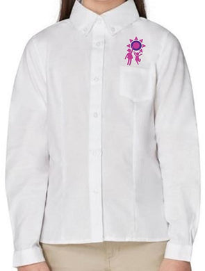 GIRLS LONG SLEEVE OXFORD BLOUSE W/LOGO