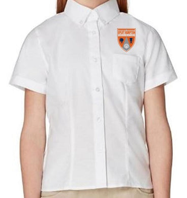 GIRLS SHORT SLEEVE OXFORD W/ LOGO
