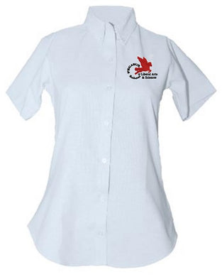 JUNIORS SHORT SLEEVE TAPERED OXFORD W/ LOGO