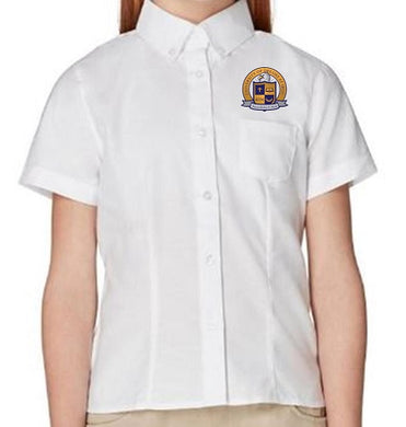 GIRLS SHORT SLEEVE OXFORD W/LOGO