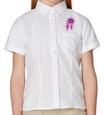 GIRLS SHORT SLEEVE OXFORD BLOUSE W/LOGO