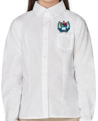 GIRLS LONG SLEEVE OXFORD SHIRT W/LOGO