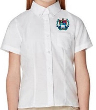 GIRLS SHORT SLEEVE OXFORD SHIRT W/LOGO