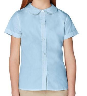 GIRLS SHORT SLEEVE MODERN PETER PAN BLOUSE