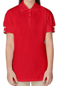 GIRLS SHORT SLEEVE PUFF SLEEVE POLO W/RHINESTONE BUTTONS