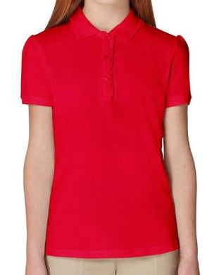 GIRLS SHORT SLEEVE RUFFLE POLO