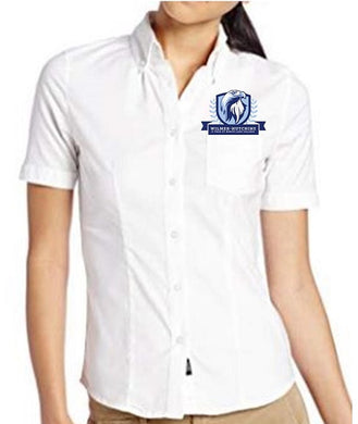 JUNIORS SHORT SLEEVE OXFORD W/ LOGO