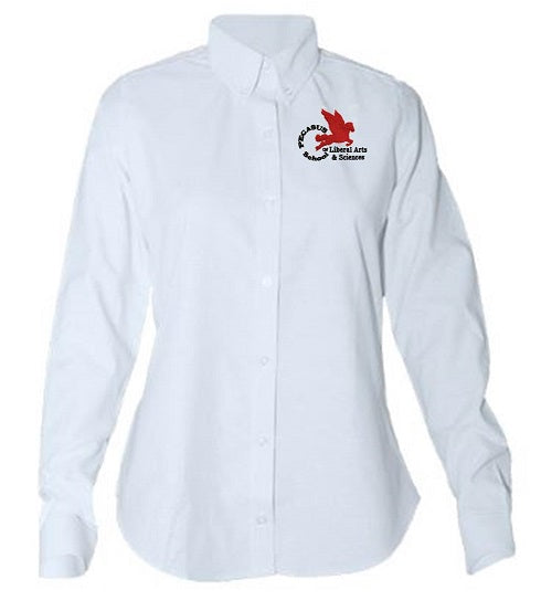 JUNIORS LONG SLEEVE TAPERED OXFORD W/ LOGO