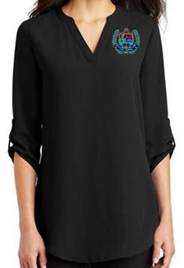 LADIES 3/4 SLEEVE TUNIC BLOUSE W/LOGO