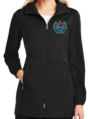 LADIES ACTIVE HOODED SOFTSHELL JACKET W/LOGO