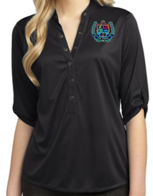 LADIES CRUSH HENLEY W/LOGO