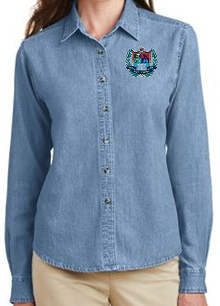 LADIES LONG SLEEVE VALUE DENIM SHIRT W/LOGO