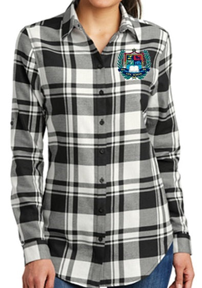 LADIES PLAID FLANNEL TUNIC W/LOGO