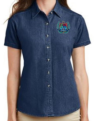 LADIES SHORT SLEEVE VALUE DENIM SHIRT W/LOGO