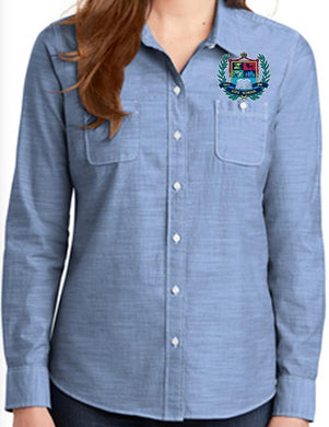 LADIES SLUB CHAMBRAY SHIRT W/LOGO