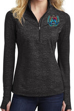 Load image into Gallery viewer, LADIES STRETCH REFLECTIVE HEATHER 1/2 ZIP PULLOVER W/LOGO