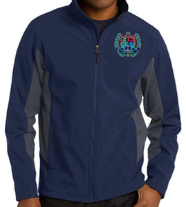 MENS CORE COLORBLOCK SOFT SHELL JACKET W/LOGO
