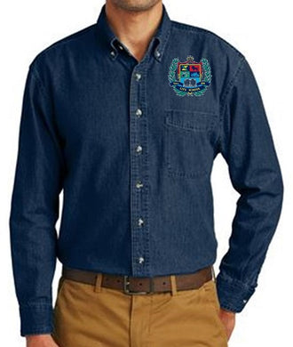 MENS LONG SLEEVE VALUE DENIM SHIRT W/LOGO