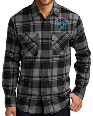 MENS PLAID FLANNEL SHIRT W/LOGO