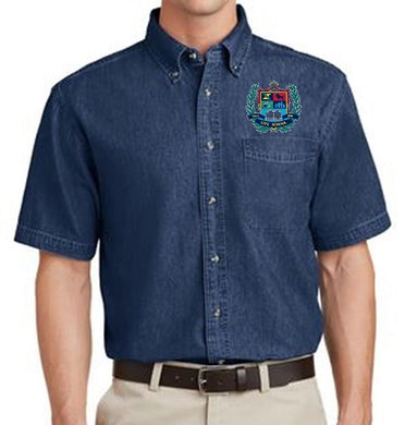 MENS SHORT SLEEVE VALUE DENIM SHIRT W/LOGO