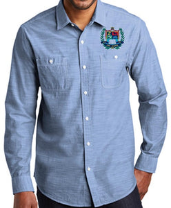 MENS SLUB CHAMBRAY SHIRT W/LOGO