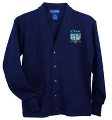 ADULT UNISEX V-NECK CARDIGAN W/LOGO