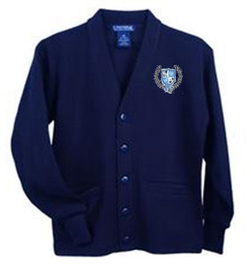ADULT V-NECK CARDIGAN SWEATER W/LOGO