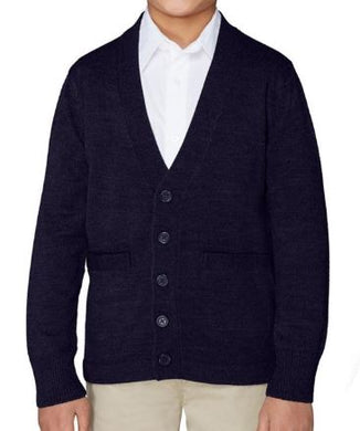 BOYS ANTI-PILL V-NECK CARDIGAN SWEATER