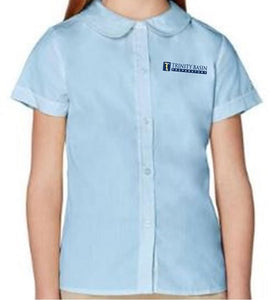 GIRLS SHORT SLEEVE PETER PAN BLOUSE W/LOGO