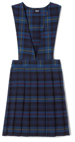 GIRLS PLAID V-NECK PLEAT JUMPER
