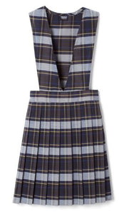 GIRLS PLAID V-NECK PLEATED JUMPER