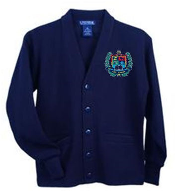 KIDS V-NECK CARDIGAN SWEATER W/LOGO