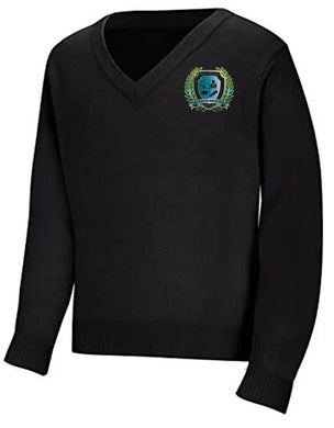 UNISEX ADULT V-NECK PULLOVER SWEATER W/ LOGO