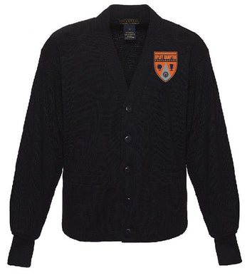 ADULT V-NECK CARDIGAN SWEATER W/ LOGO